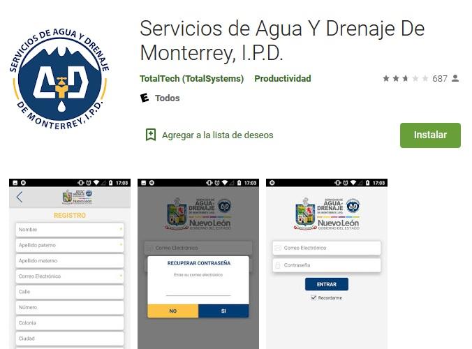 app servicios de agua y drenaje de monterrey