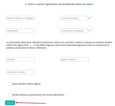 crear tu cuenta en telmex